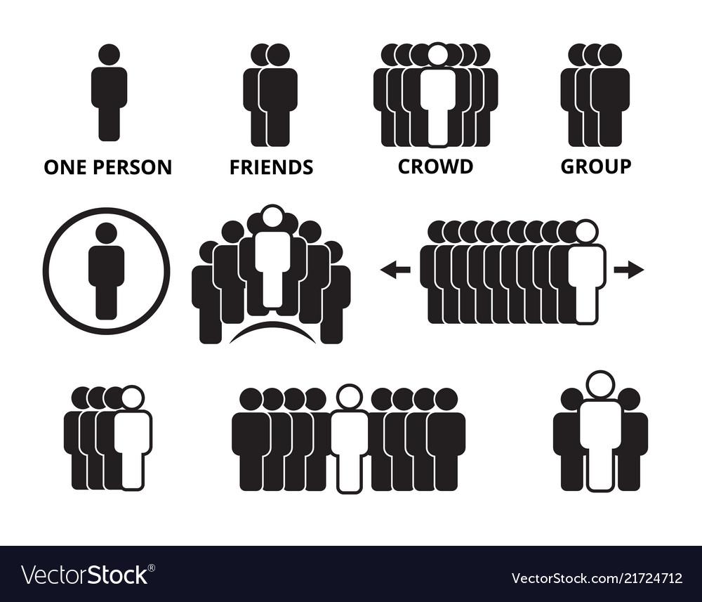 Crowd team symbols business people figures group