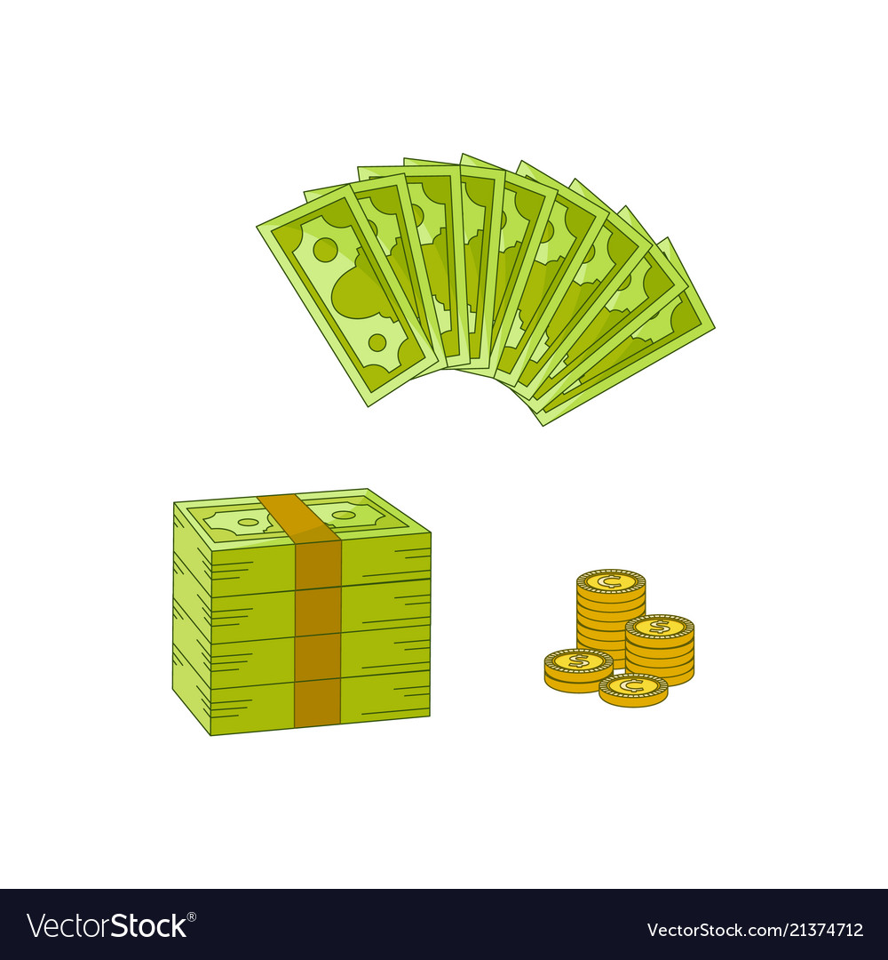 Flat cash money pile stack gold coin set