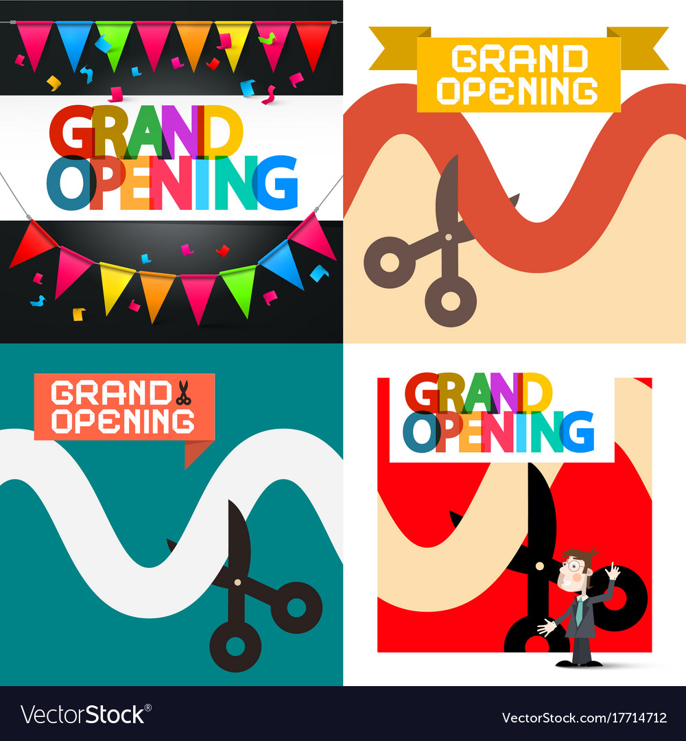 Grand opening designs set vector image