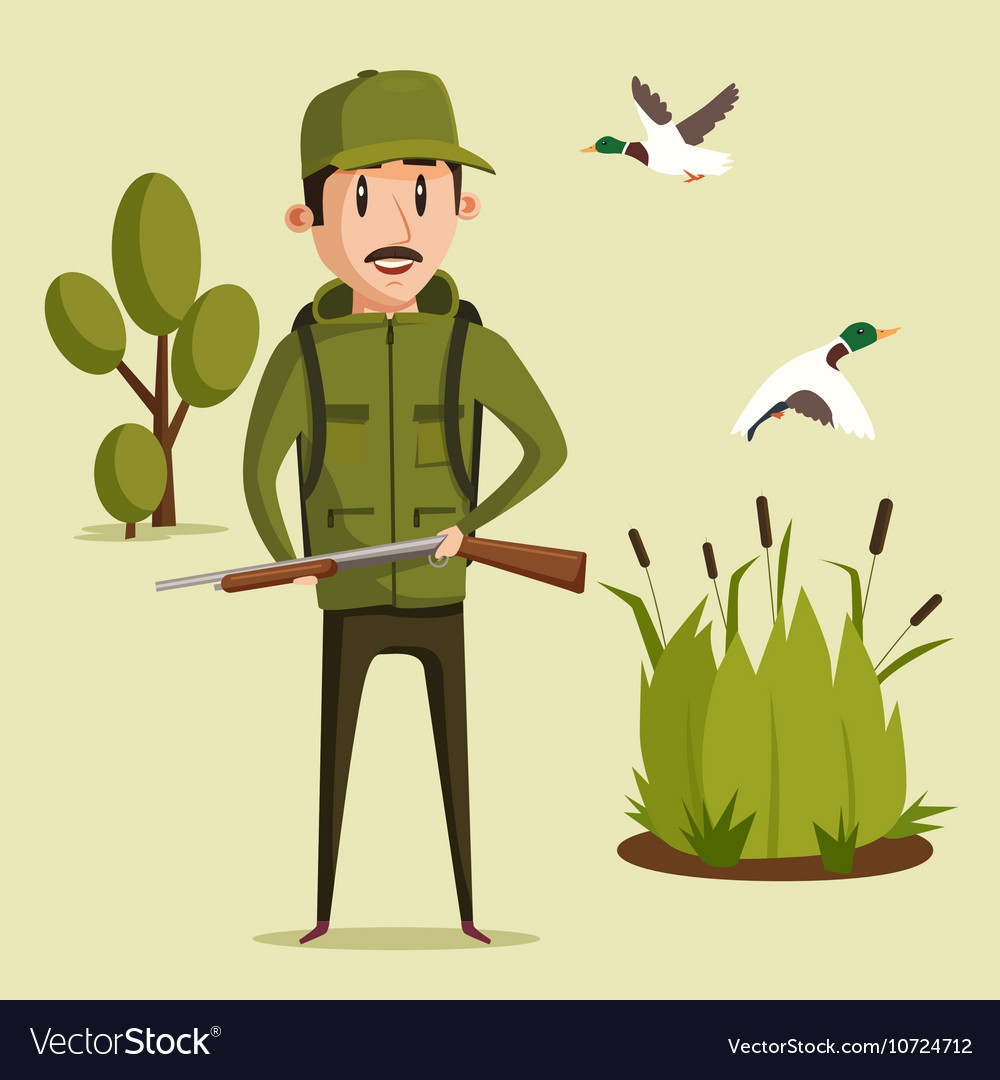 Hunting sport Hunter with rifle vector image
