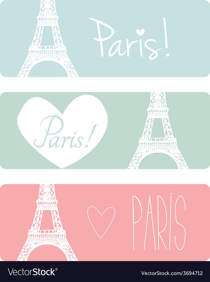 Love Paris pastel banner set with Eiffel Tower