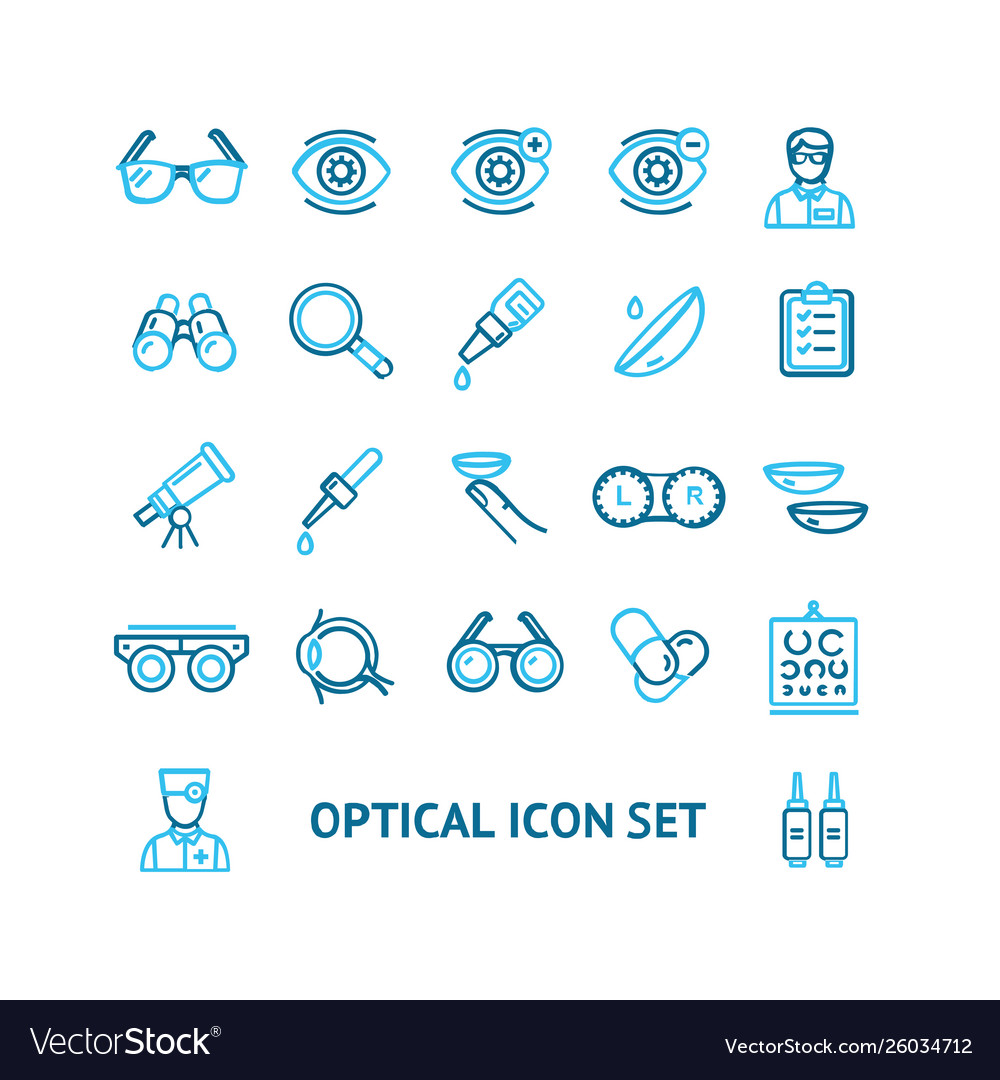 Optical signs color thin line icon set