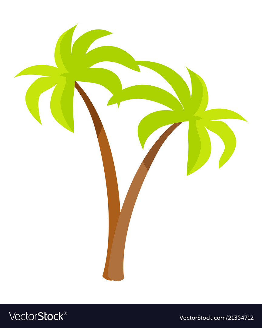 Palm trees with green leaves and trunk palm icons