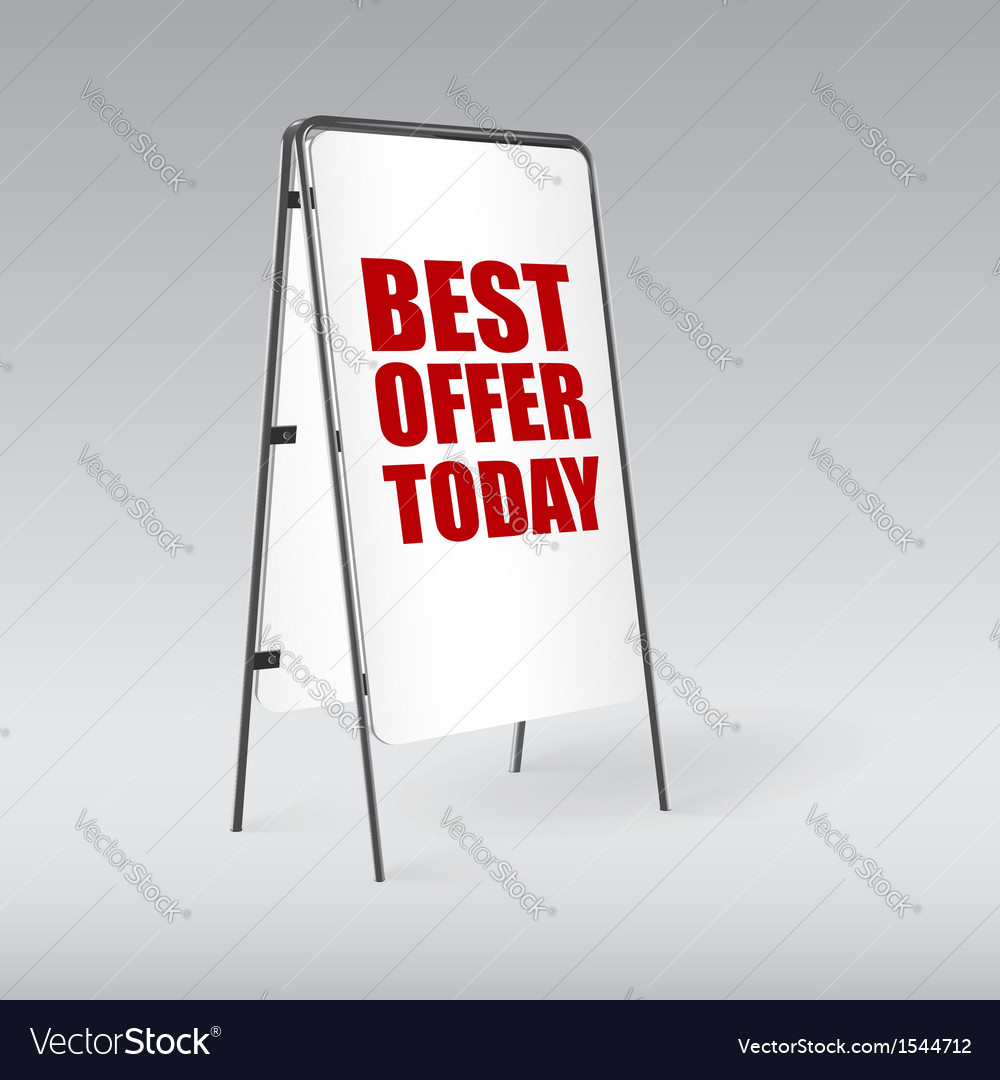 Pavement sign with the text Best offer today
