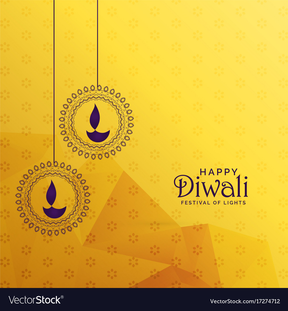 Premium Diwali Greeting Card Design With Diya Vector Image
