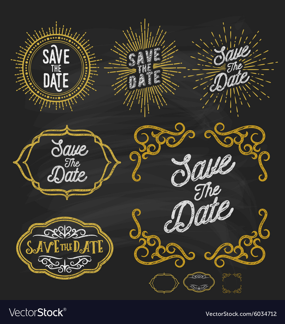 Save the date frame border chalkboard style