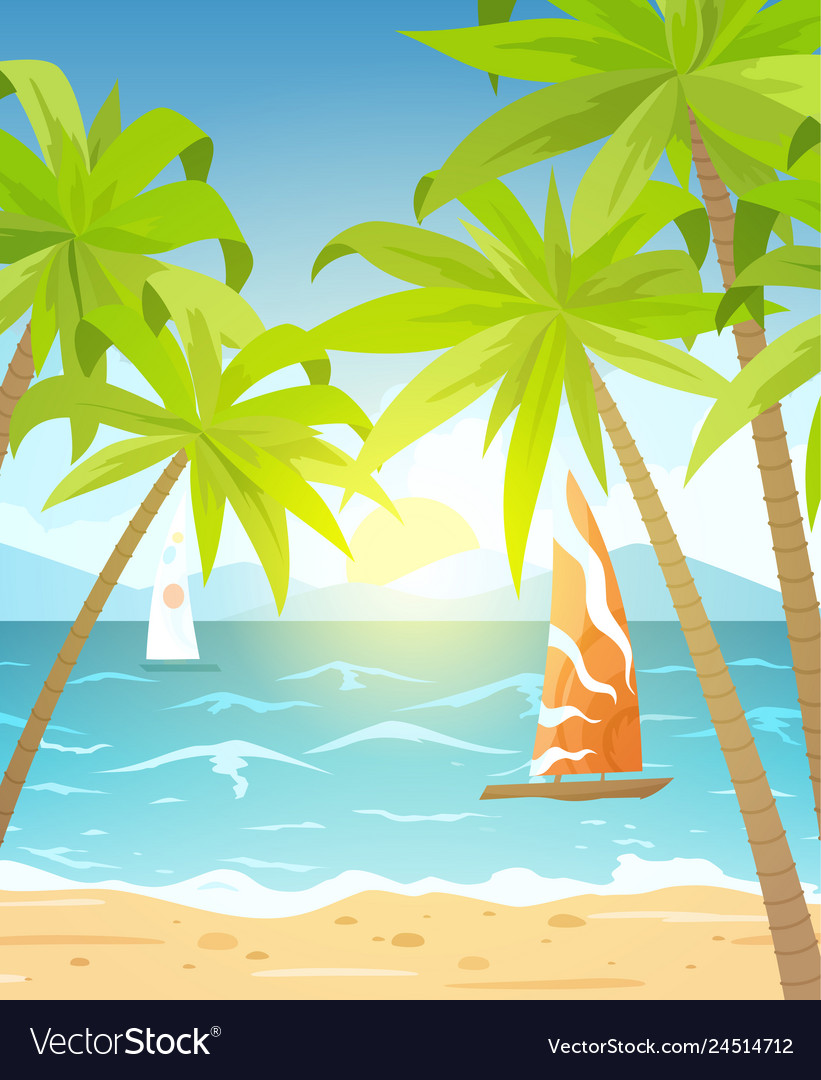 Sea beach and sun loungers seascape vacation