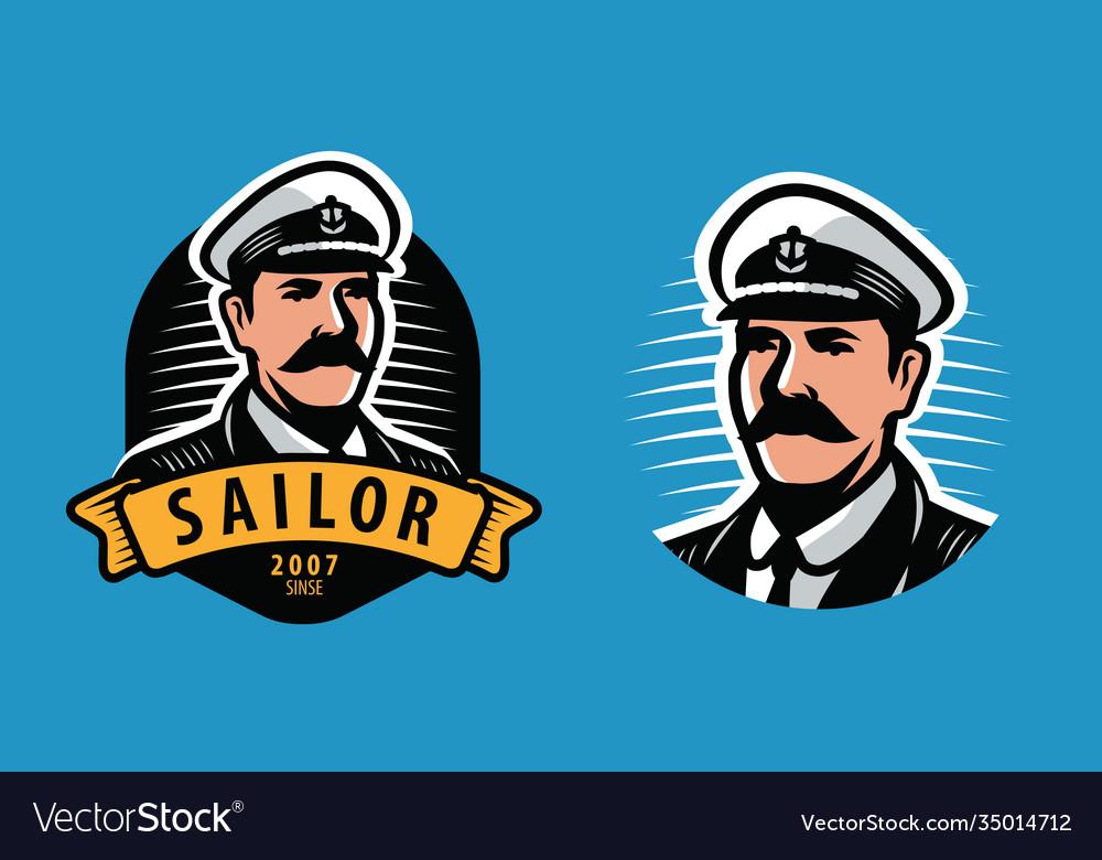 Sea captain emblem sailing seafaring symbol
