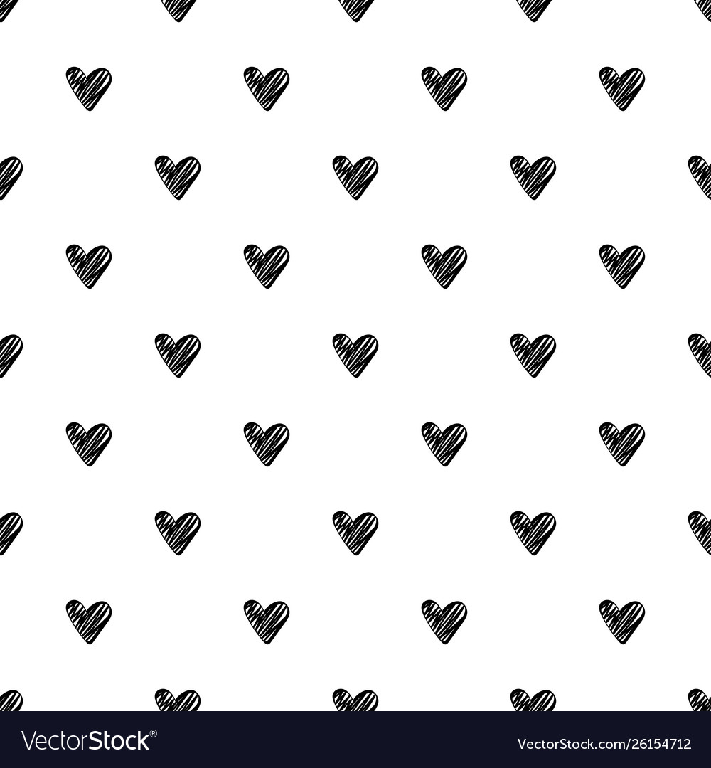 Seamless pattern with black hearts on white