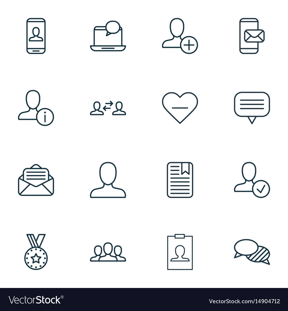 Set of 16 social network icons includes business
