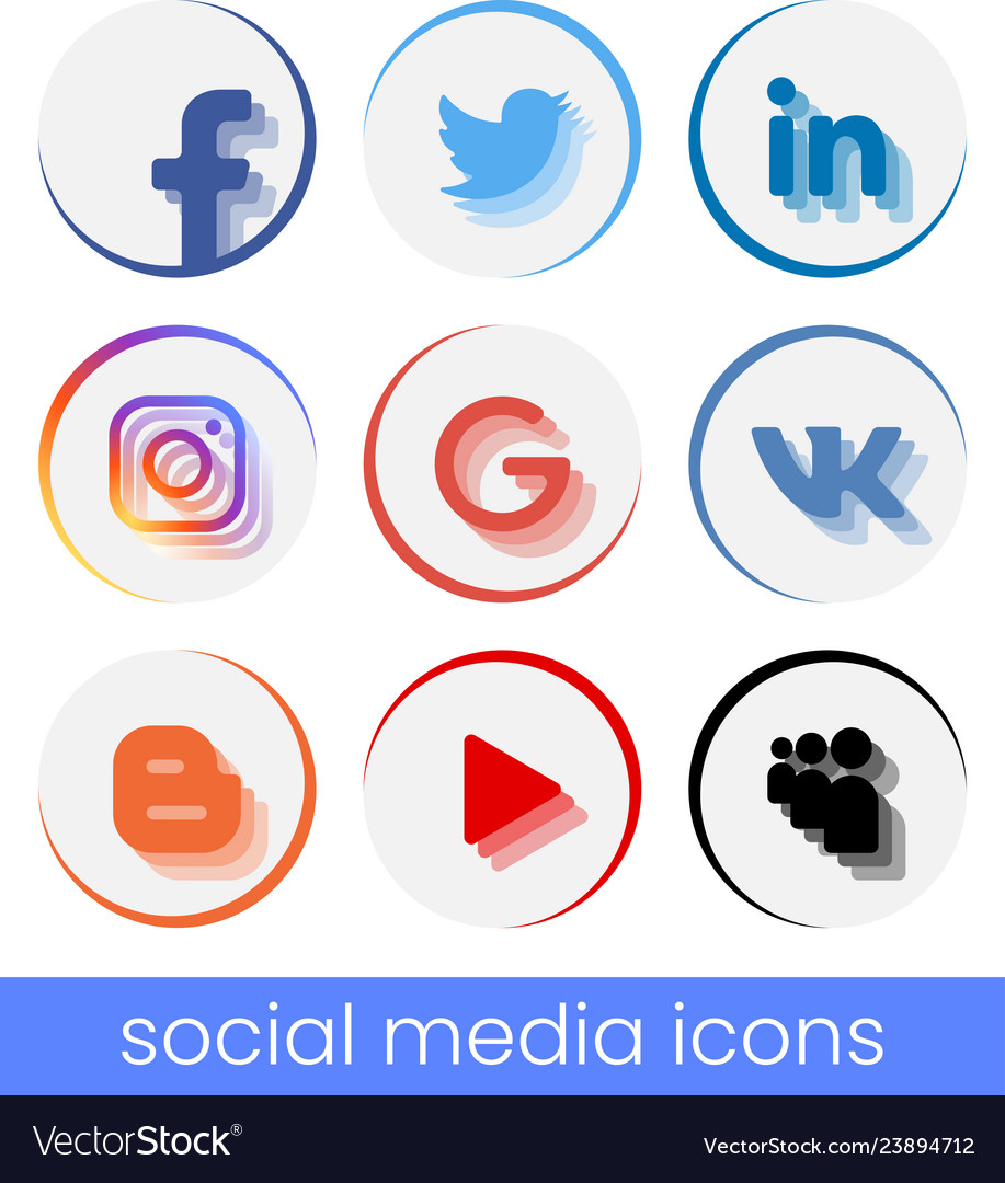 Set of circle popular social media logos move