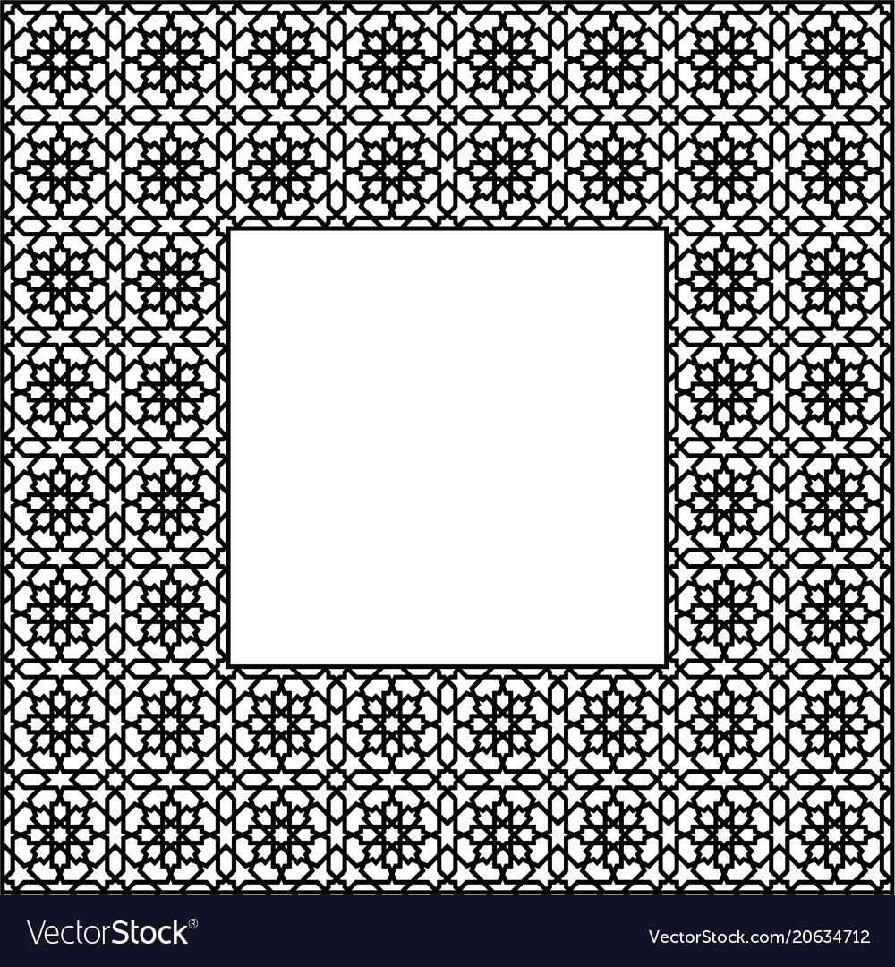 Square frame of the arabic pattern of four by four
