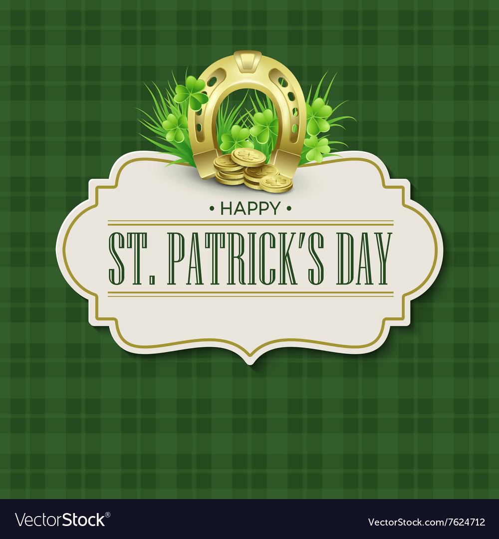 St Patricks Day vintage holiday badge design