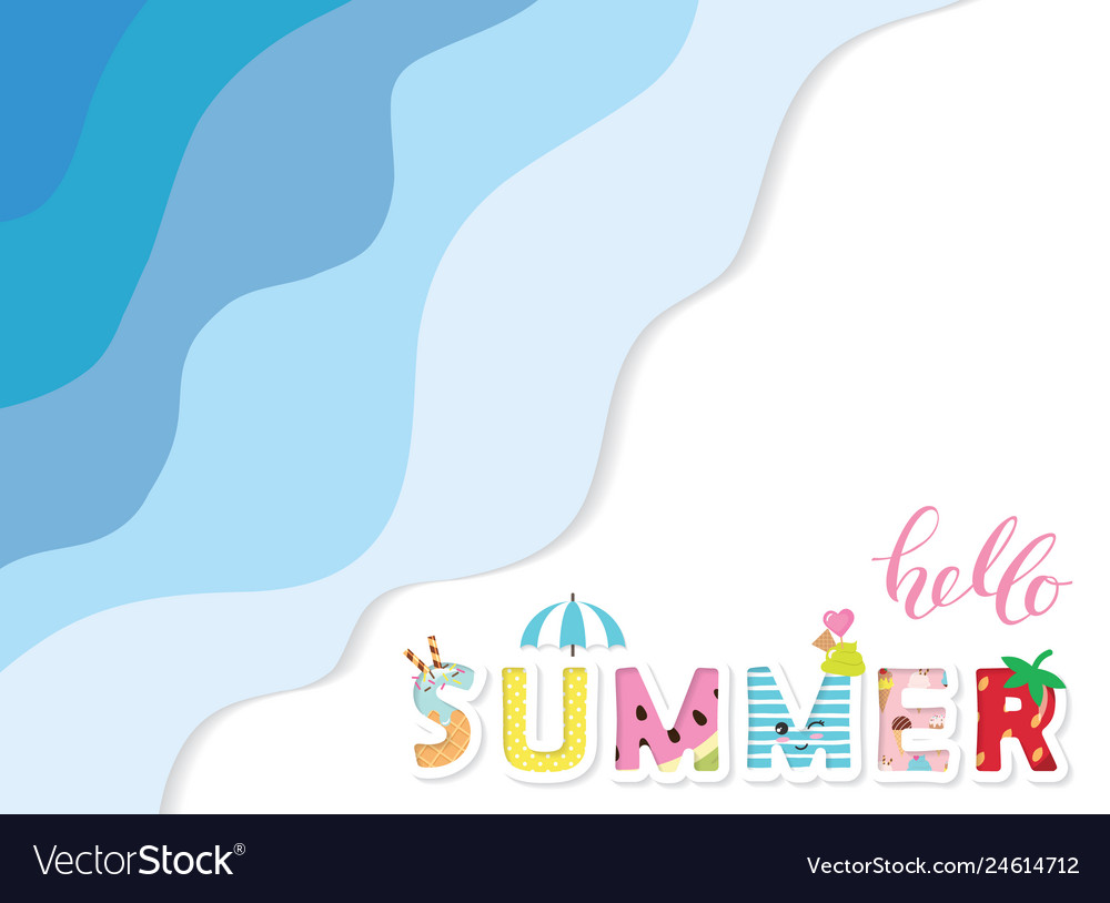 Summer paper cut out banner 3d waves layers