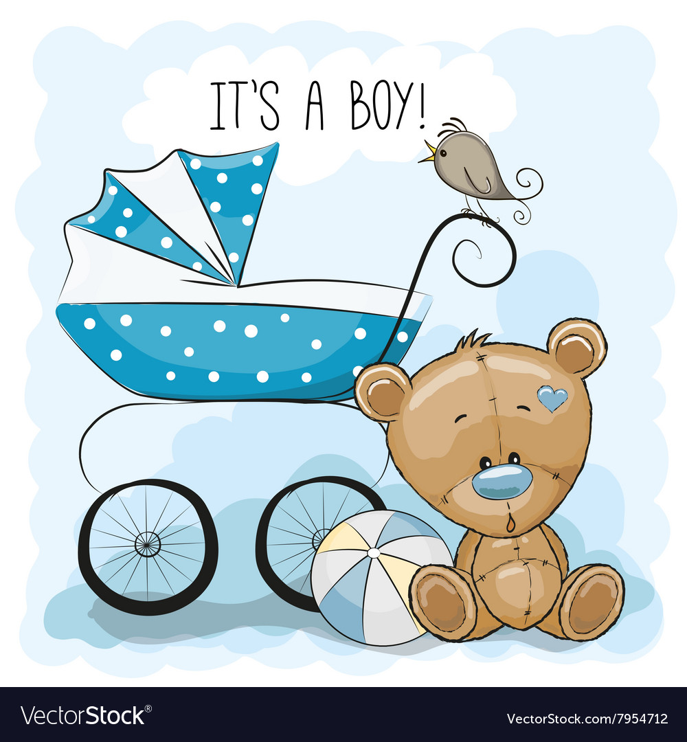 Teddy bear with baby carriage vector image