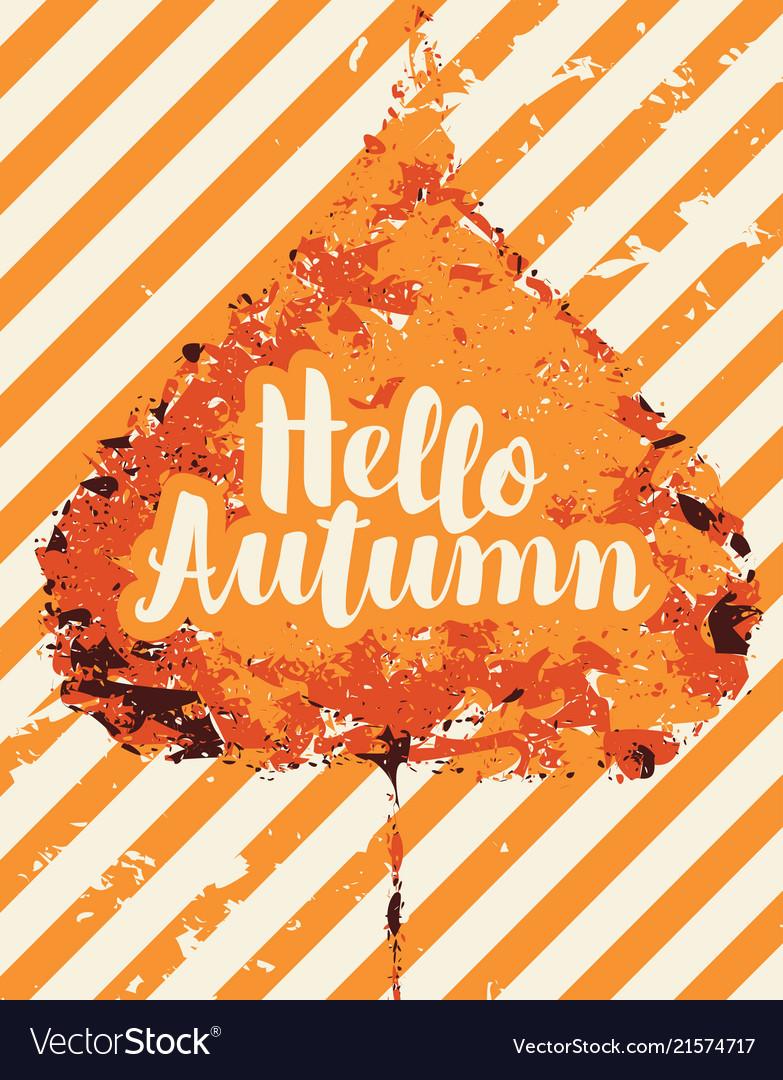 Autumn banner with bright autumn poplar leaf