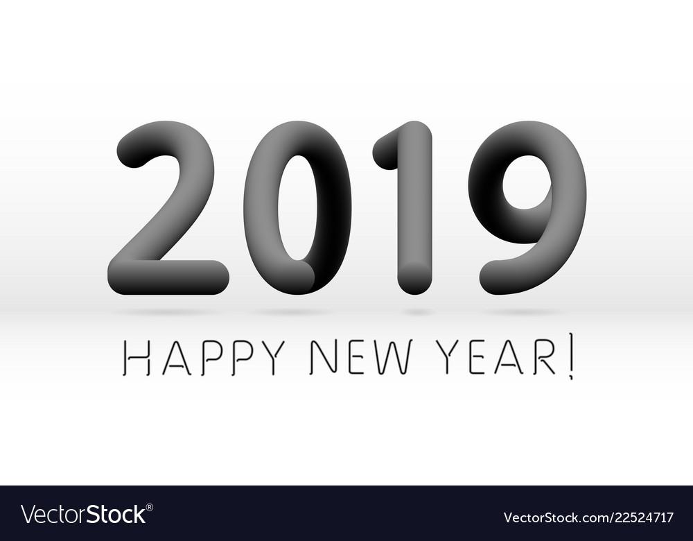 Black 2019 symbol happy new year isolated on