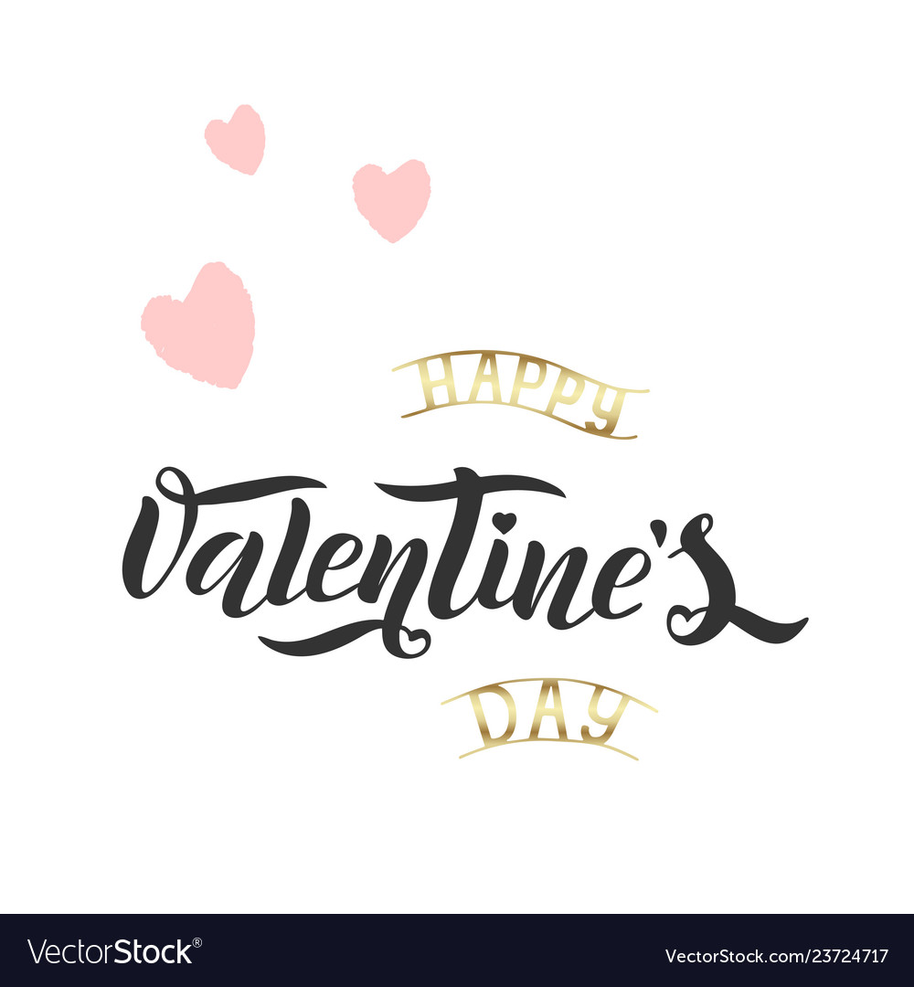 Brush lettering quote happy valentine s day