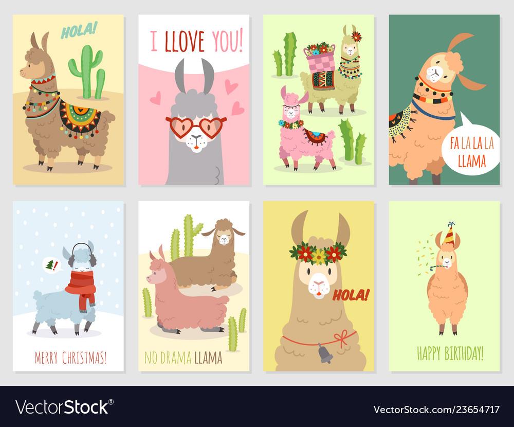 Llama cards ballamas cute alpaca and cacti