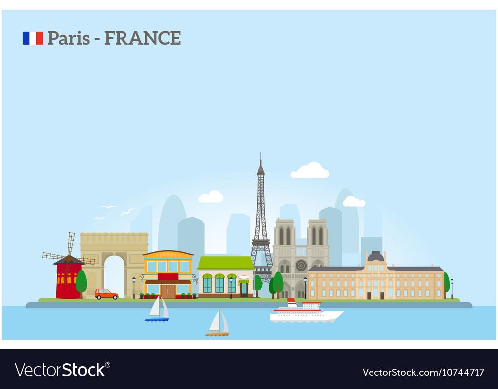 Paris skyline in flat style