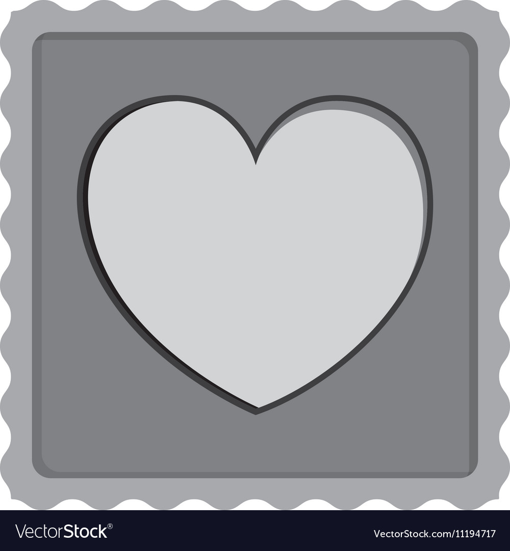 Post stamp with heart shape icon