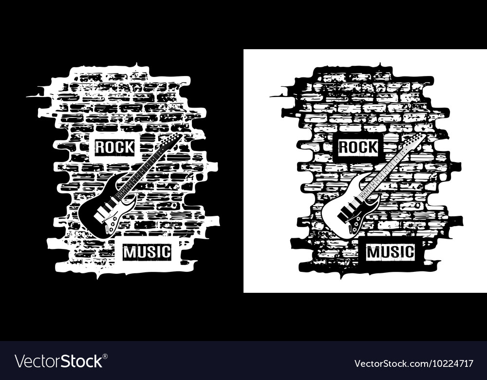 Rock music on a brick background black and white