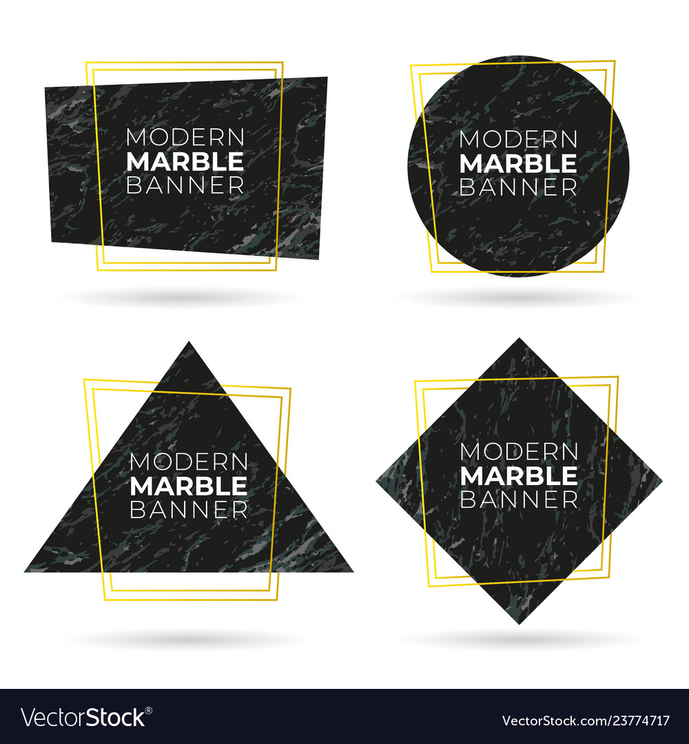 Set modern banners with marble texture