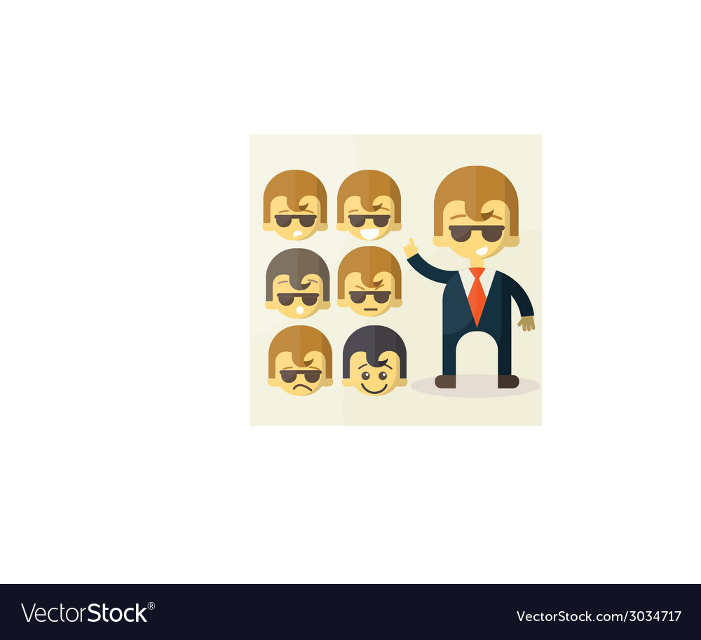 Set of cartoon office worker vector image