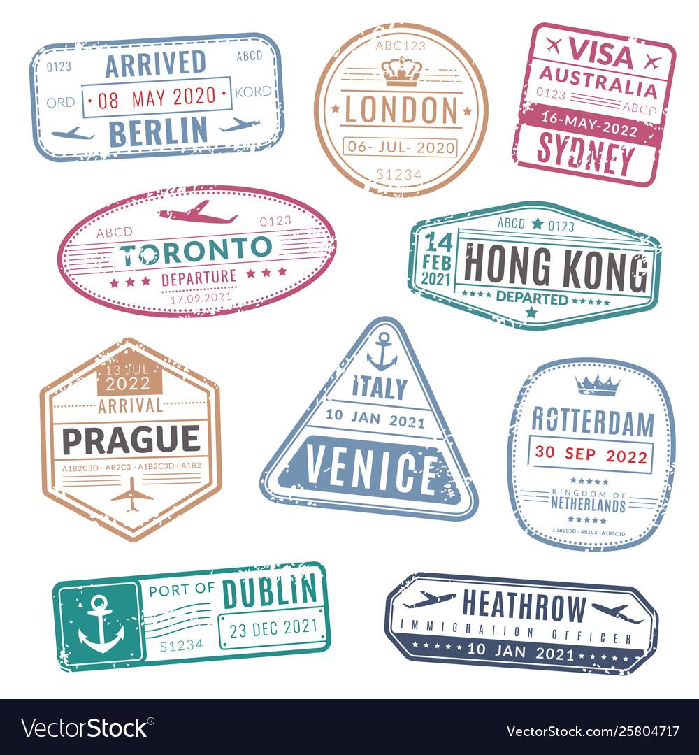Travel stamp vintage passport visa international