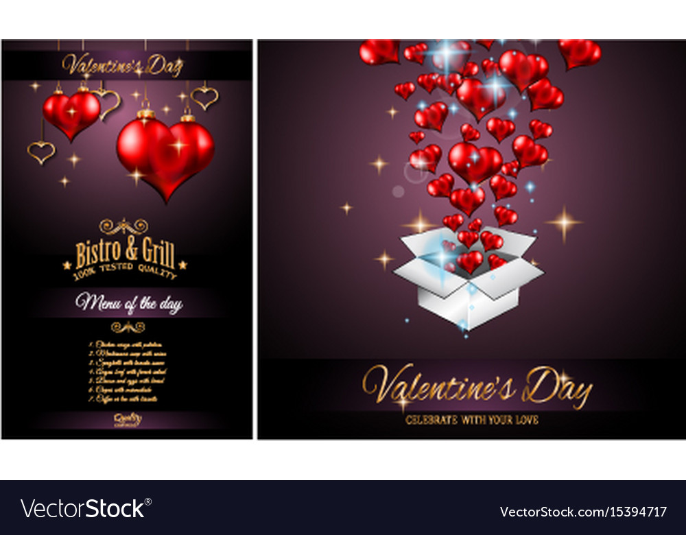 Valentines Day Restaurant Menu Template Royalty Free Vector