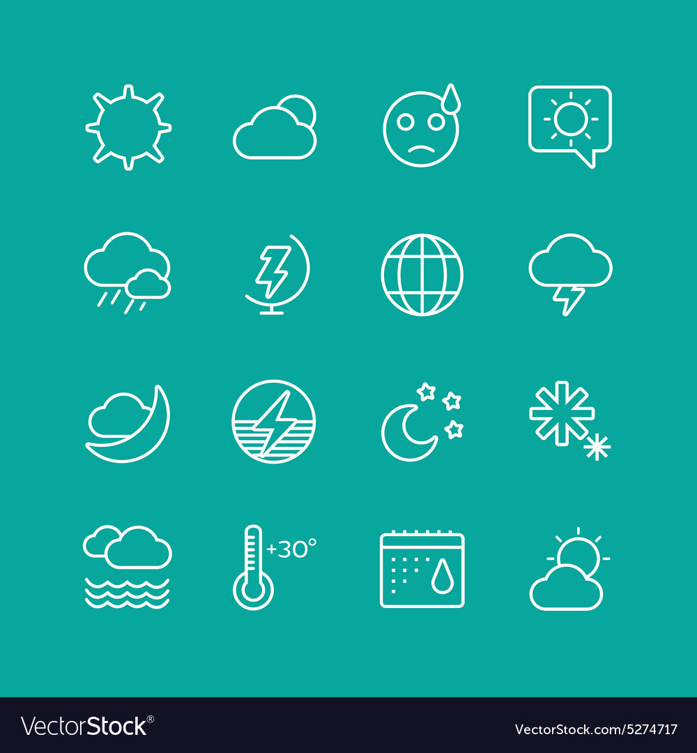 Weather Icons Set Clouds Sky or Wind and