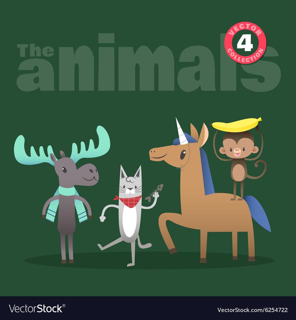 Animals cartoon including moose cat horse monkey