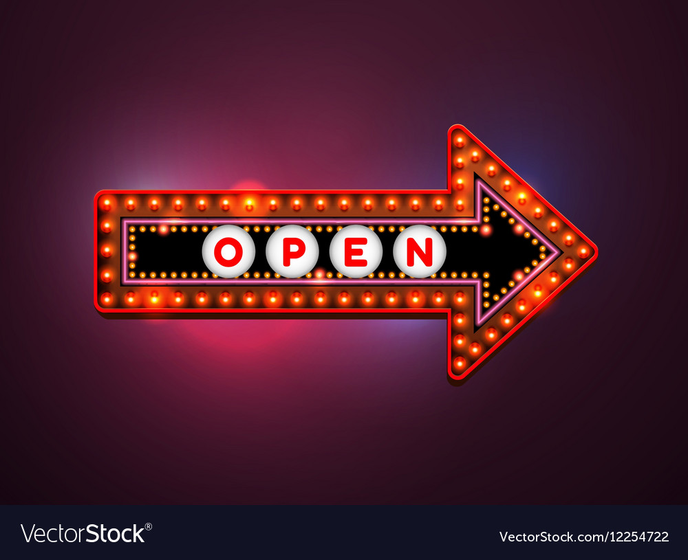 Arrow light neon sign vector image