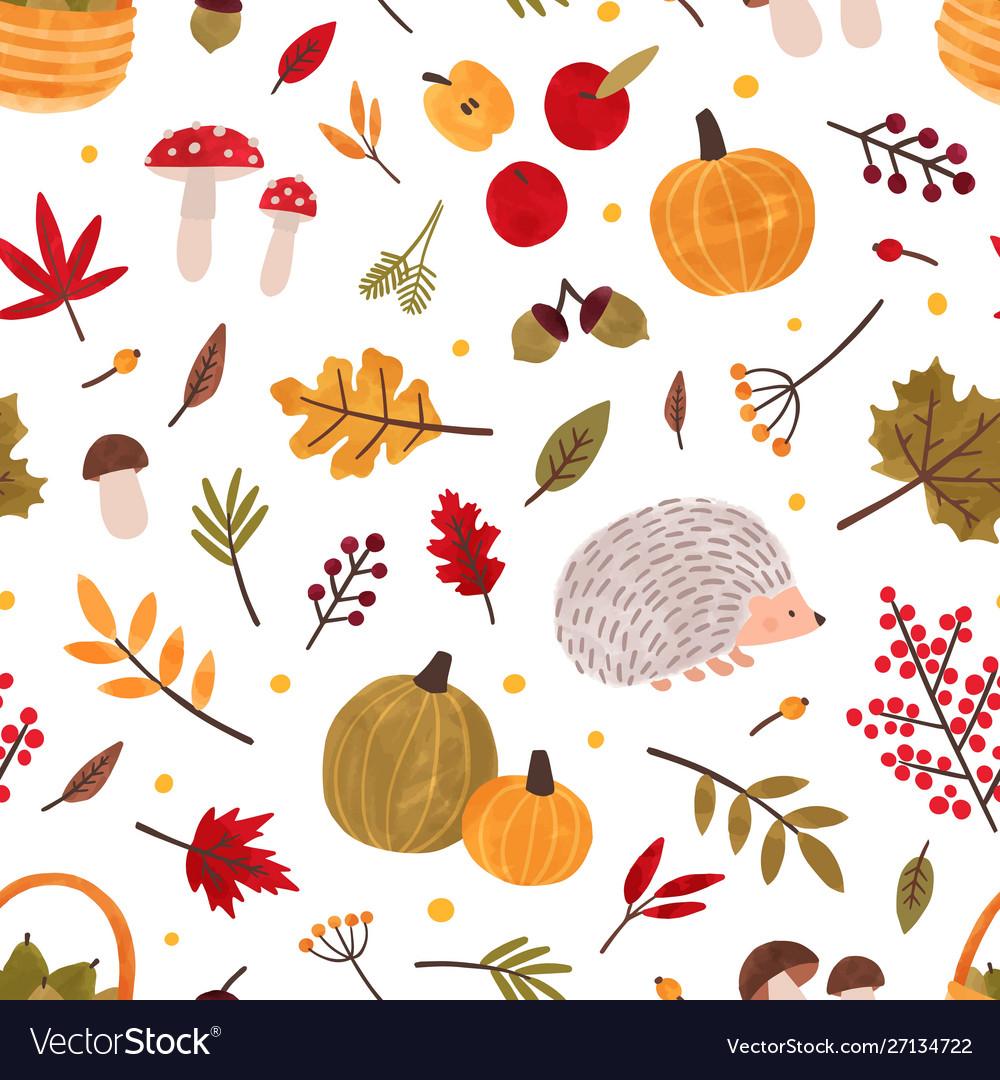 Autumn hand drawn seamless pattern fall