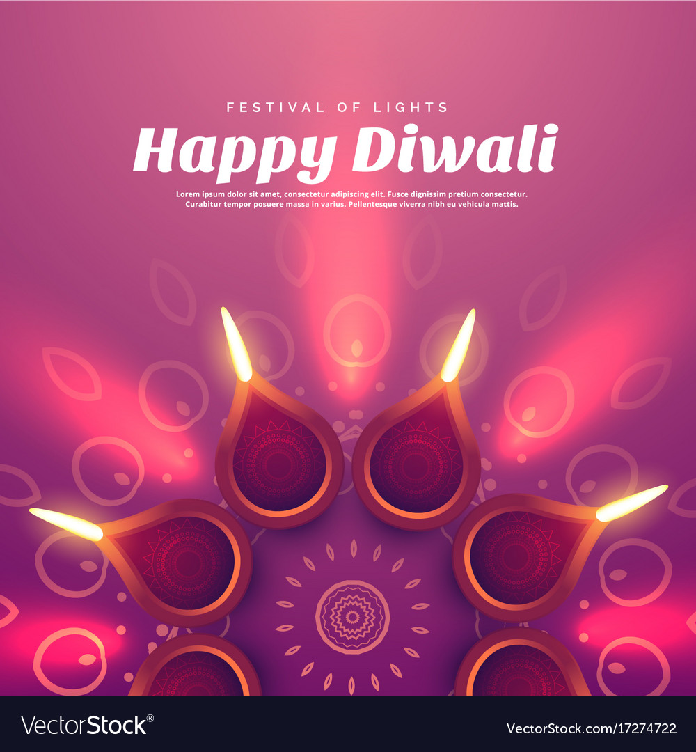 Beautiful diwali with burning diya lamp