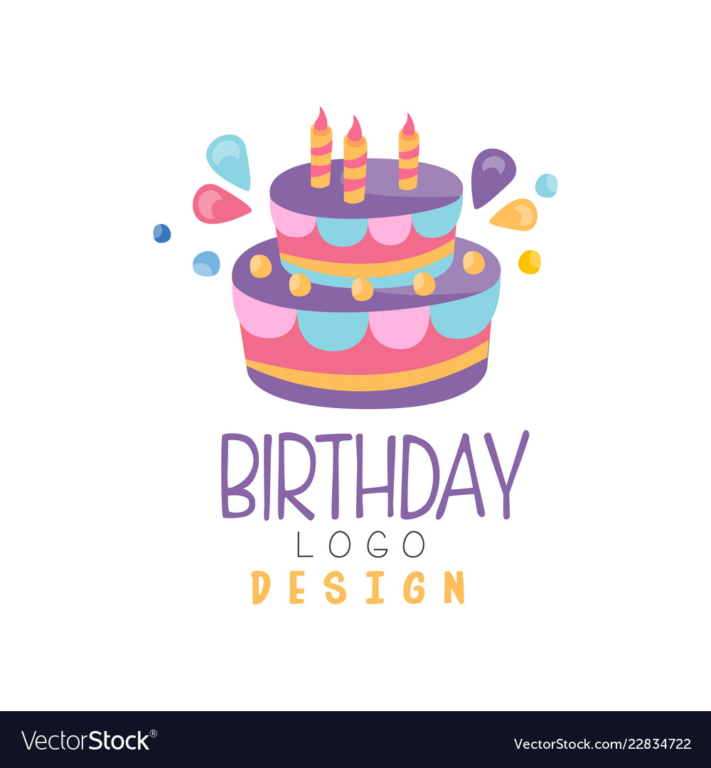 Birthday logo colorful creative template