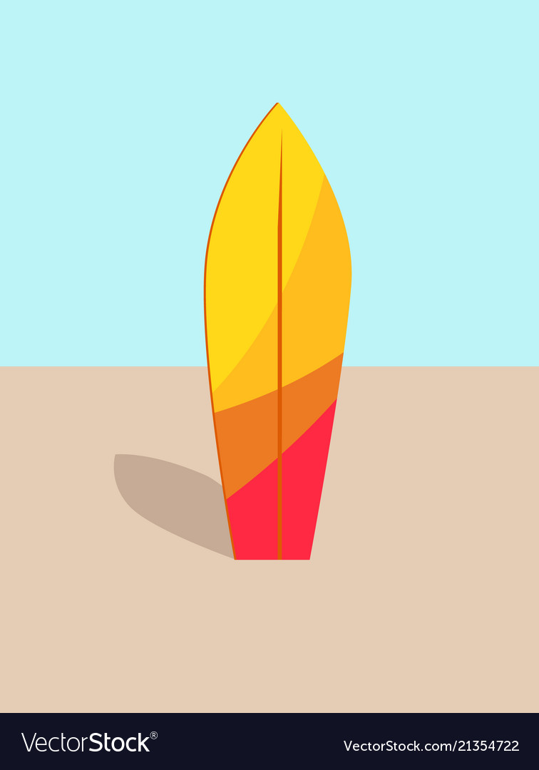 Colorful surfboard in hot sand