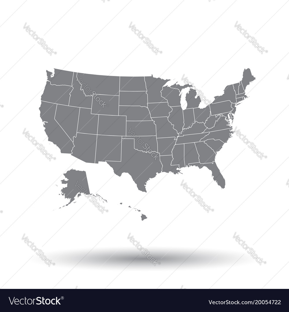 High detailed usa map with federal states united