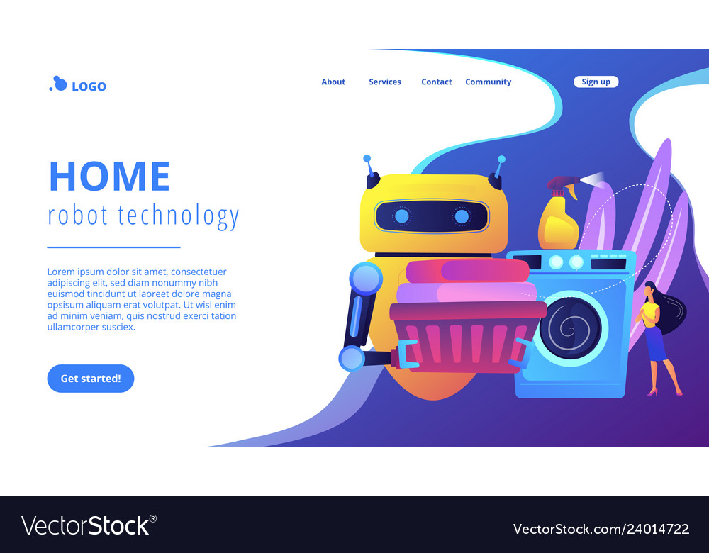 Home robot technology concept landing page