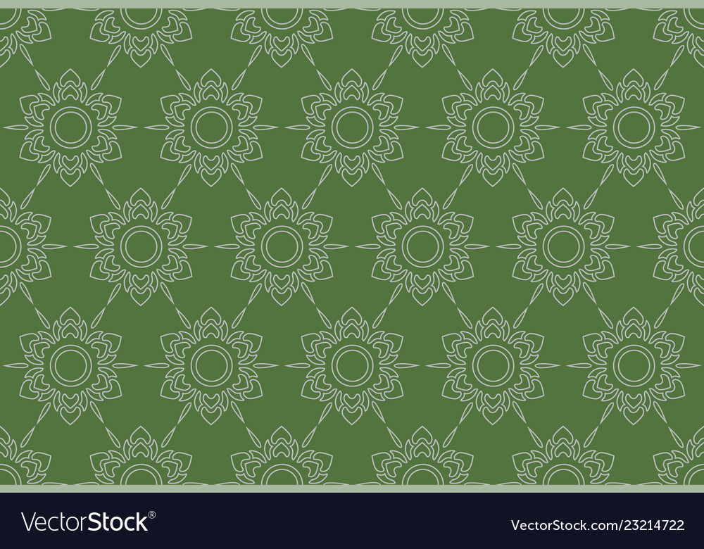 Outline thai pattern floral seamless on green