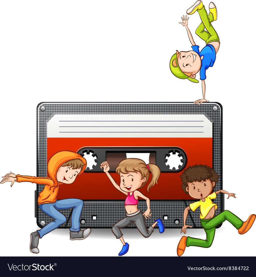 People dancing and casette tape