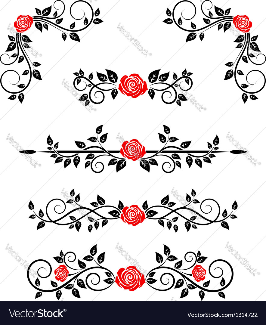 Roses with floral embellishments royalty free vector image roses with floral embellishments vector image stopboris Images