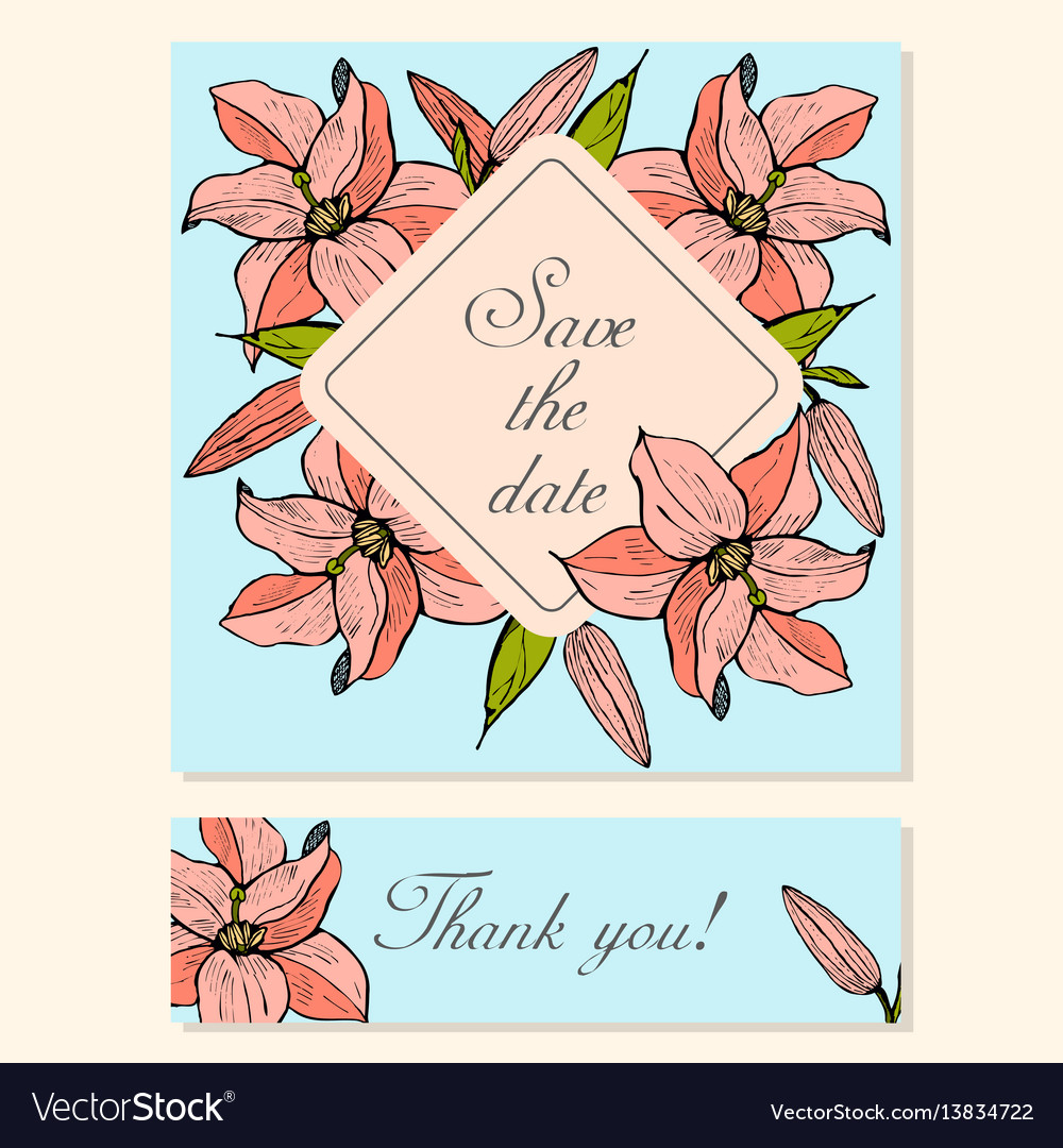 Set of cards with lily floral motifs
