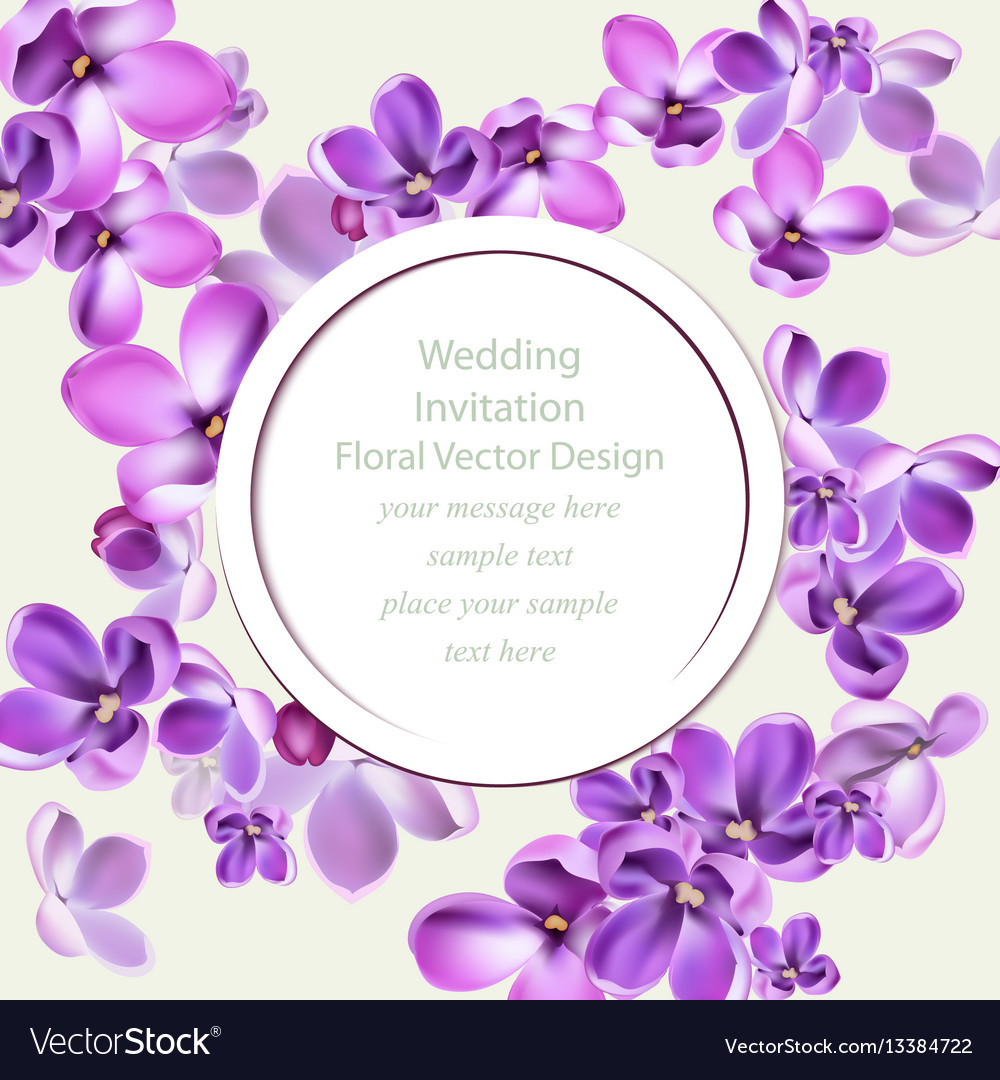 Spring delicate lilac flowers bouquet card
