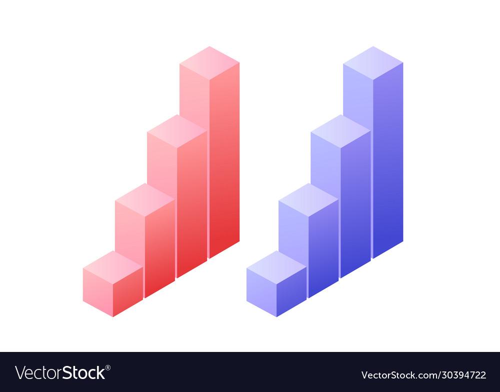 Statistics graph chat isometric object