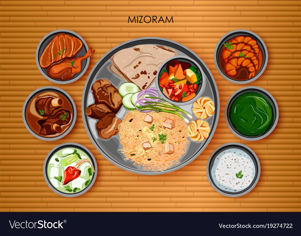Traditional mizorami cuisine and food meal thali