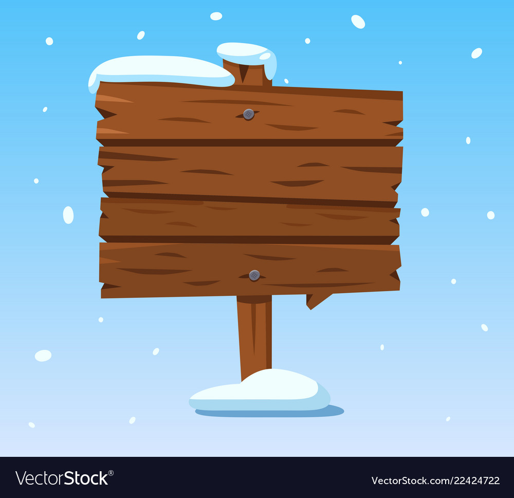 Wooden sign in snow christmas winter holidays