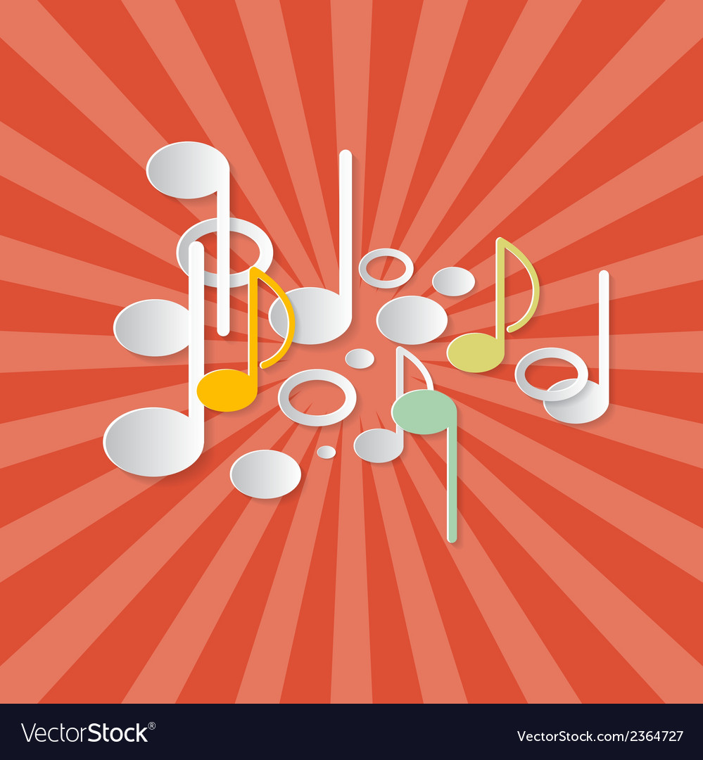 Abstract Music Retro Red Background with Notes