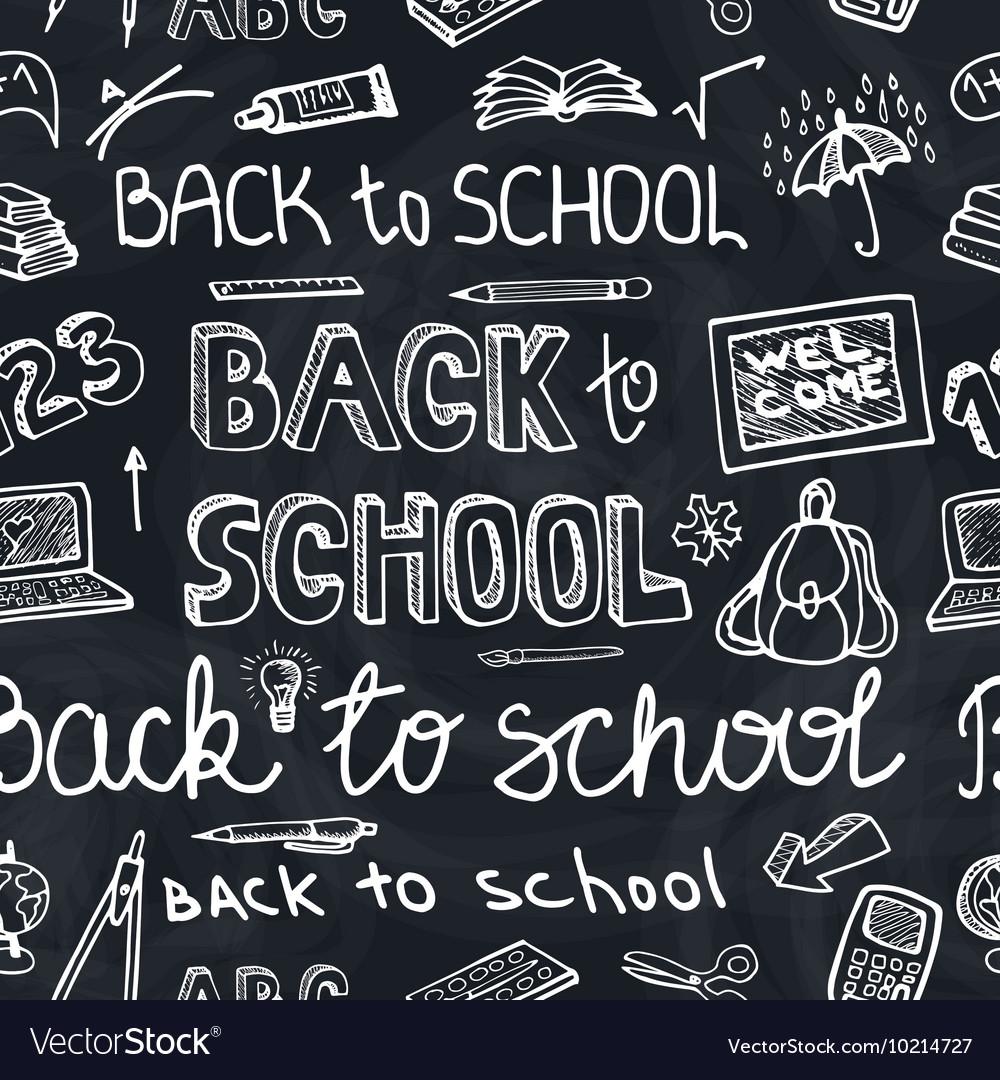 Back to School Supplies Sketchy chalkboard