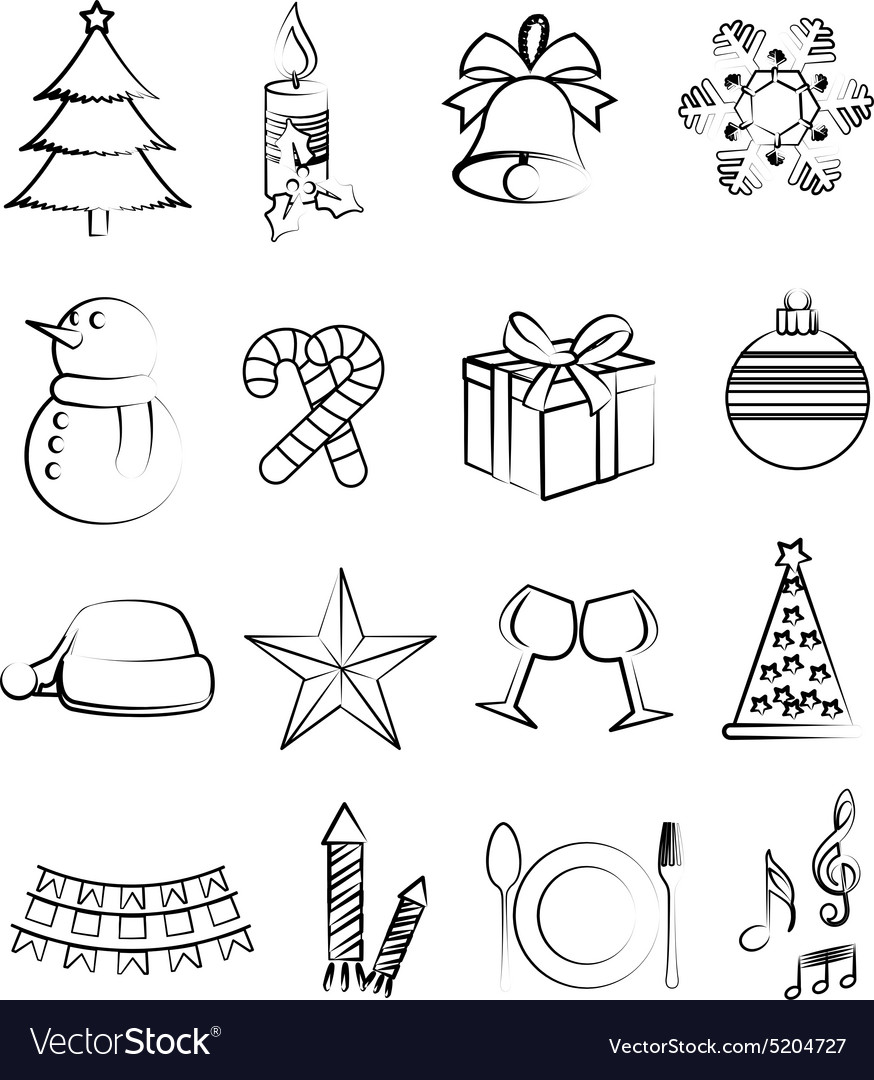 Christmas line icons set